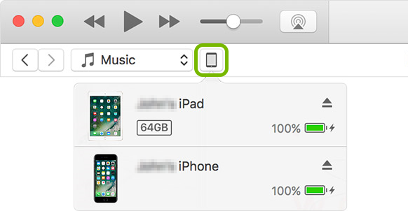 Device button highlighted in iTunes.