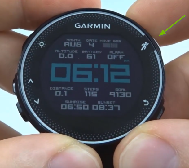 Garmin Forerunner with run button selected.