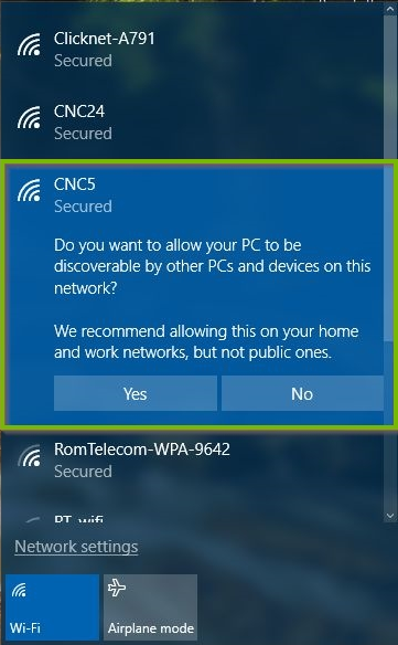 Windows 10 Wi-Fi connection process highlighting a prompt to allow sharing.