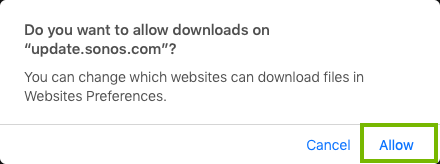 Clicking allow for the download