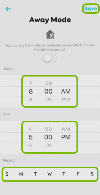 Time and day selectors and Save option highlighted in schedule settings for selected bulb in EufyHome app.