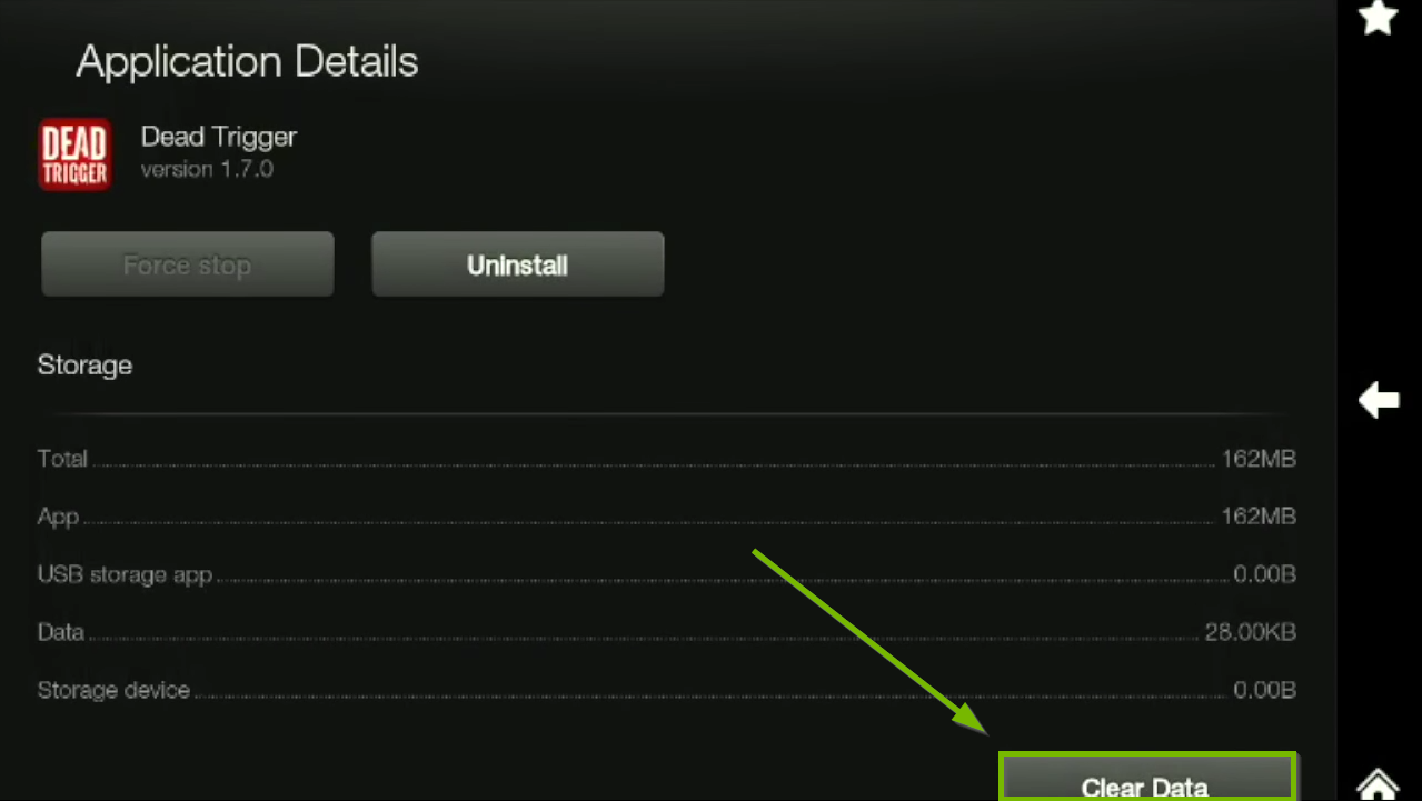 Clear Data option highlighted on Application Details screen.