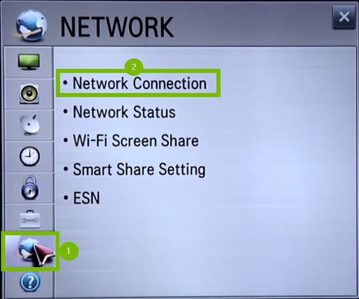 Network menu with Network Connection selected. Screenshot.