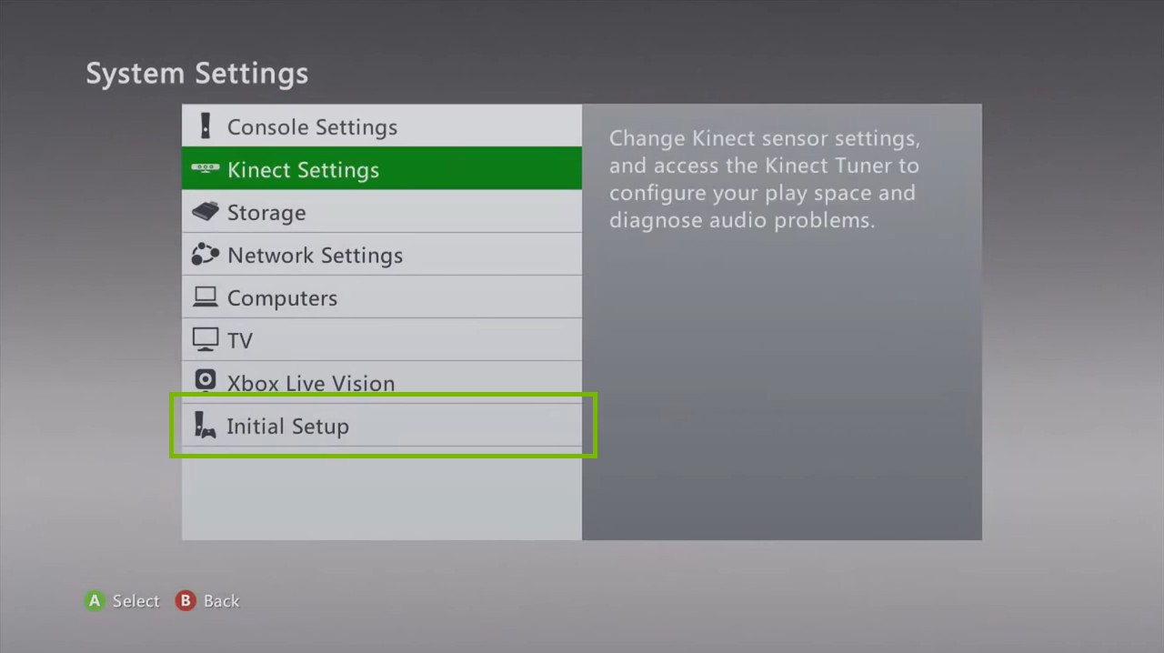 Xbox 360 System Settings menu, highlighting the Initial Setup option.