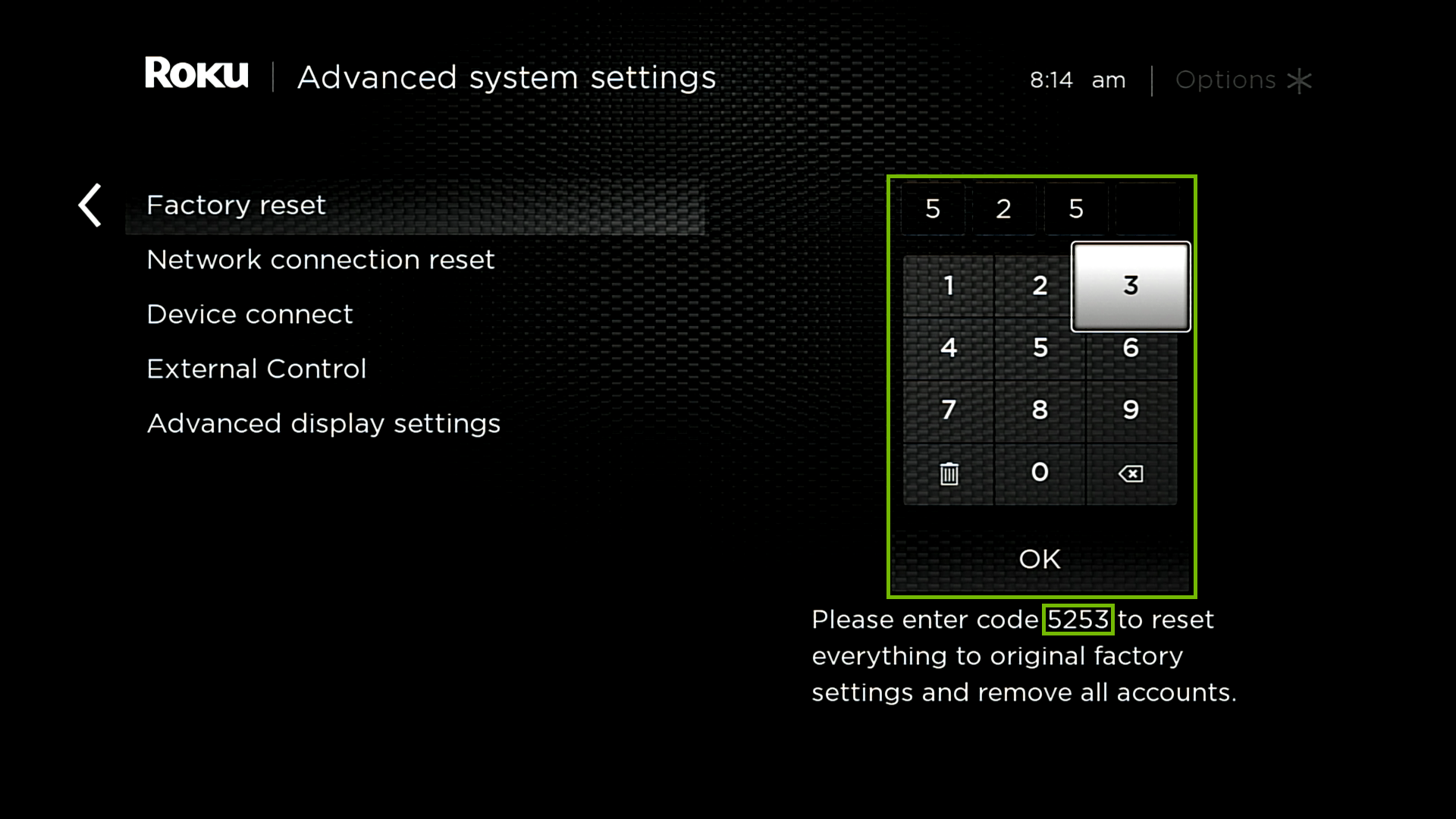 Advanced system settings factory reset with code highlighted on bottom right and number entry area highlighted.
