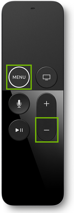 Apple TV remote control, highlighting the menu and volume down buttons.
