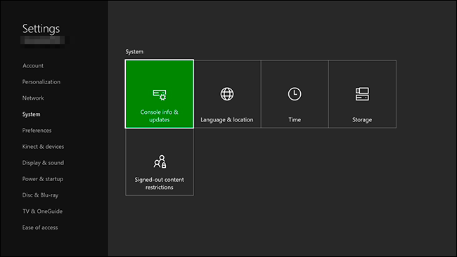 Settings menu with Console Info and Updates selected. Screenshot.