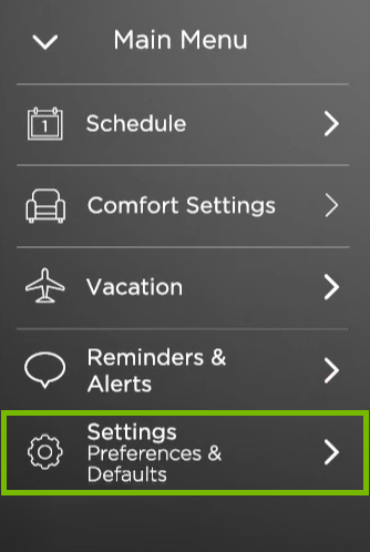 Settings option highlighted in ecobee menu.