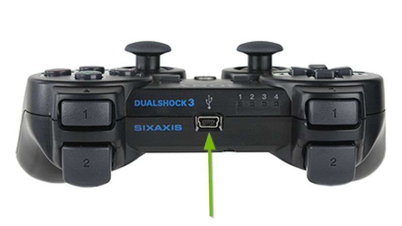 PS3 controller showing the microusb port