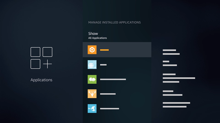 Manage Installed Applications screen.
