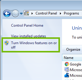 Programs and Features inset with Turn Windows features on or off highlighted.