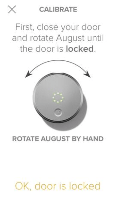August home app prompting the user to calibrate the new lock