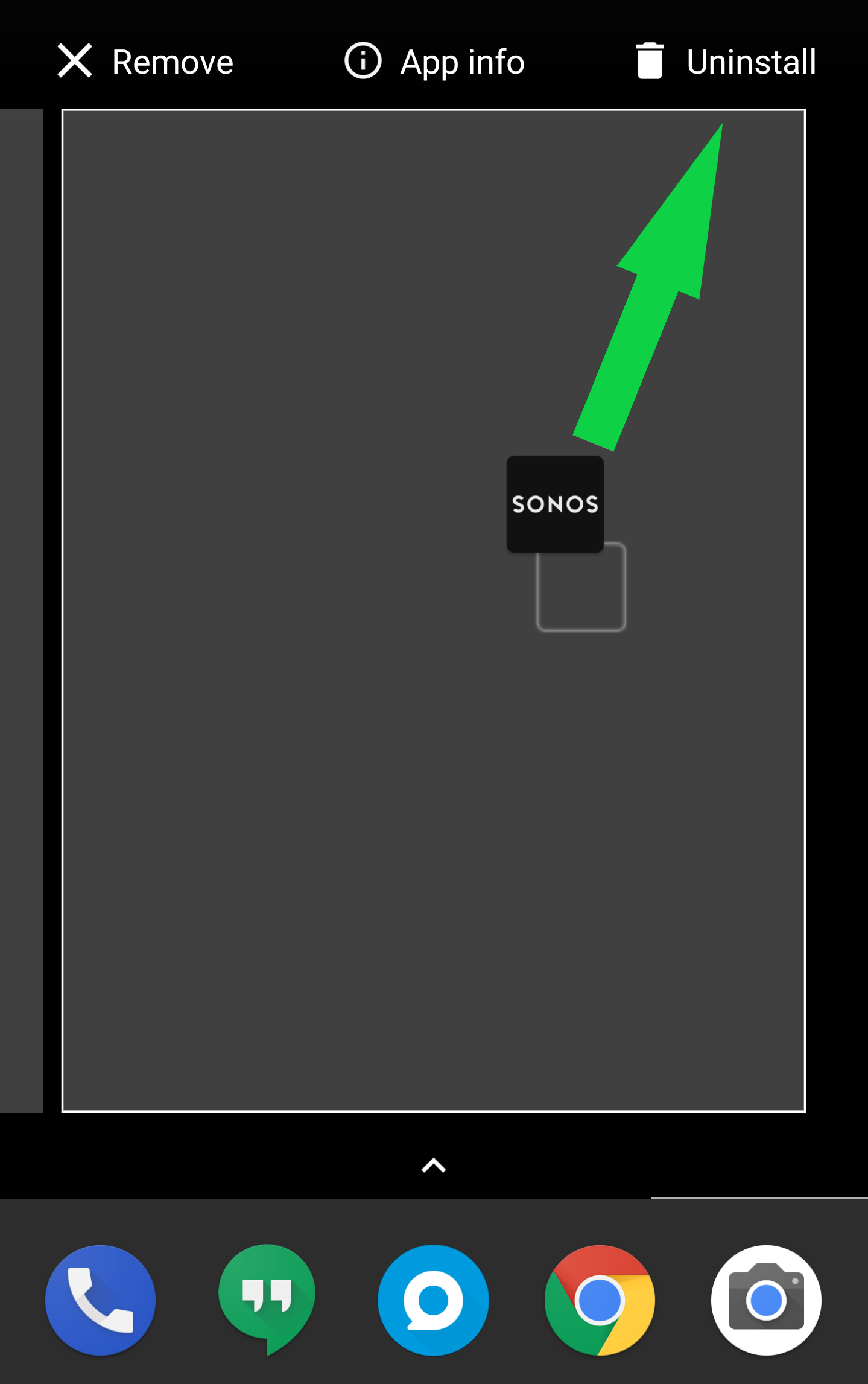 Dragging the sonos icon to the uninstall option. Illustration.