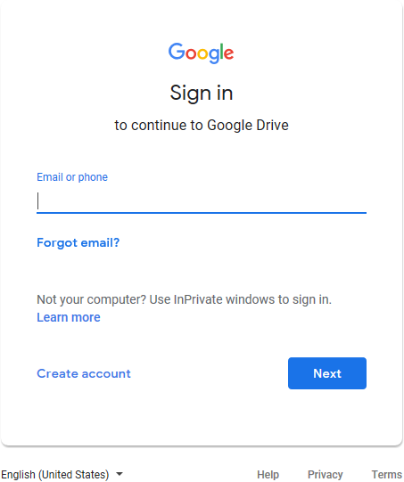 Google Drive sign-in.