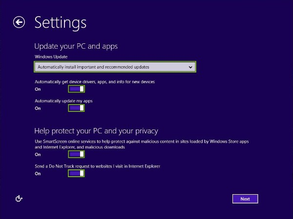 Windows update and Privacy preferences highlighted
