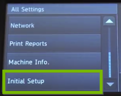 Settings menu with Initial setup selected.
