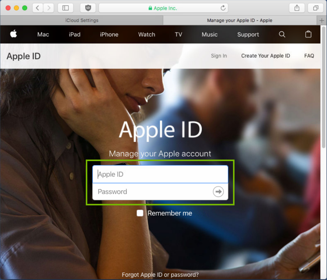 AppleID webpage with ID and Password area highlighted
