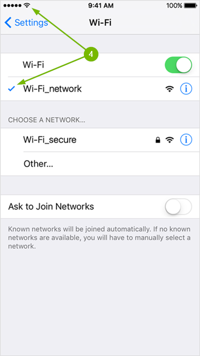 Wi-Fi Settings page with an arrow pointing to a checkmark to the left of the connected network and another arrow pointing to the Wi-Fi symbol in the status bar.