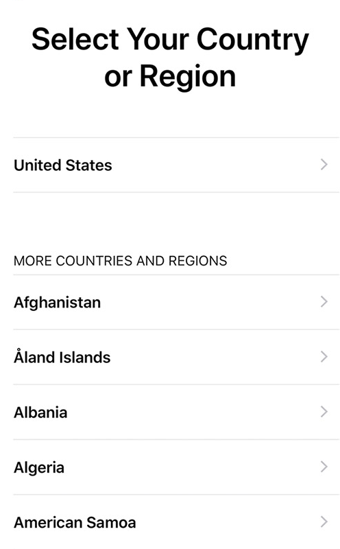 Country/region selection screen of iOS device setup.