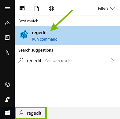 regedit keyword highlighted in Windows 10 search box and result pointed out.