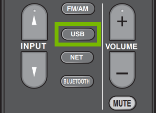 USB button highlighted on partial remote.