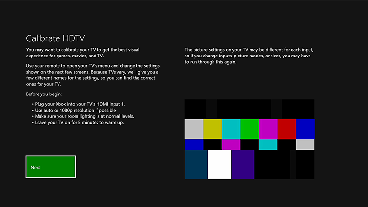 Calibrate HDTV. Follow the prompts on your TV. Screenshot.