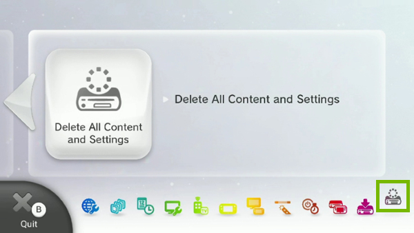 Delete All Content & Settings highlighted in Wii U system menu.
