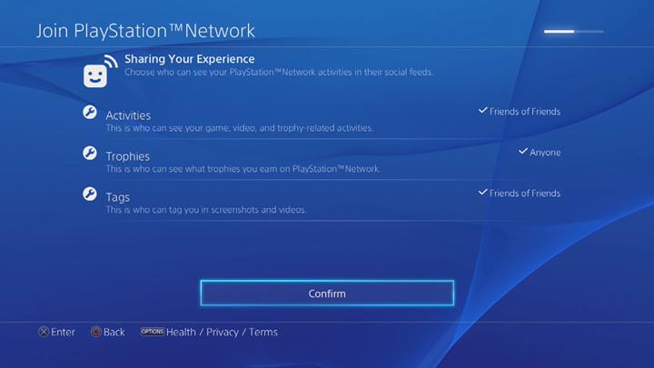 PlayStation Network activity sharing customization screen.