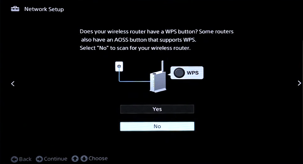 Network setup with WPS option
