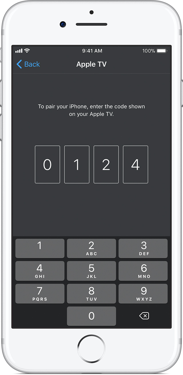Apple TV app with PIN Code Entry