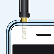 Audio jack plugged into smartphone.