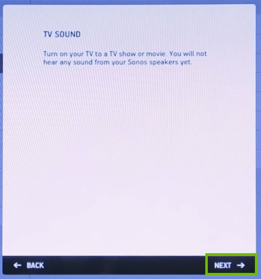 TV Sound turn TV on with next highlighted