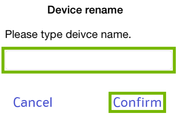 Name field and Confirm highlighted