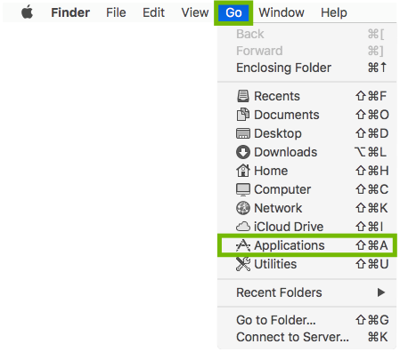 Finder Go menu with Applications highlighted.