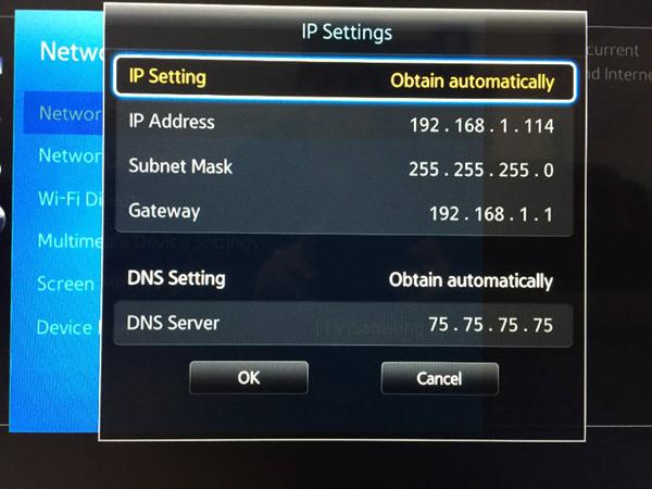 Samsung IP Settings menu