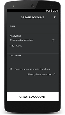 Harmony app create an account screen.