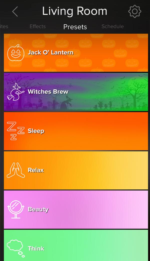 Presets screen showing in ilumi app.