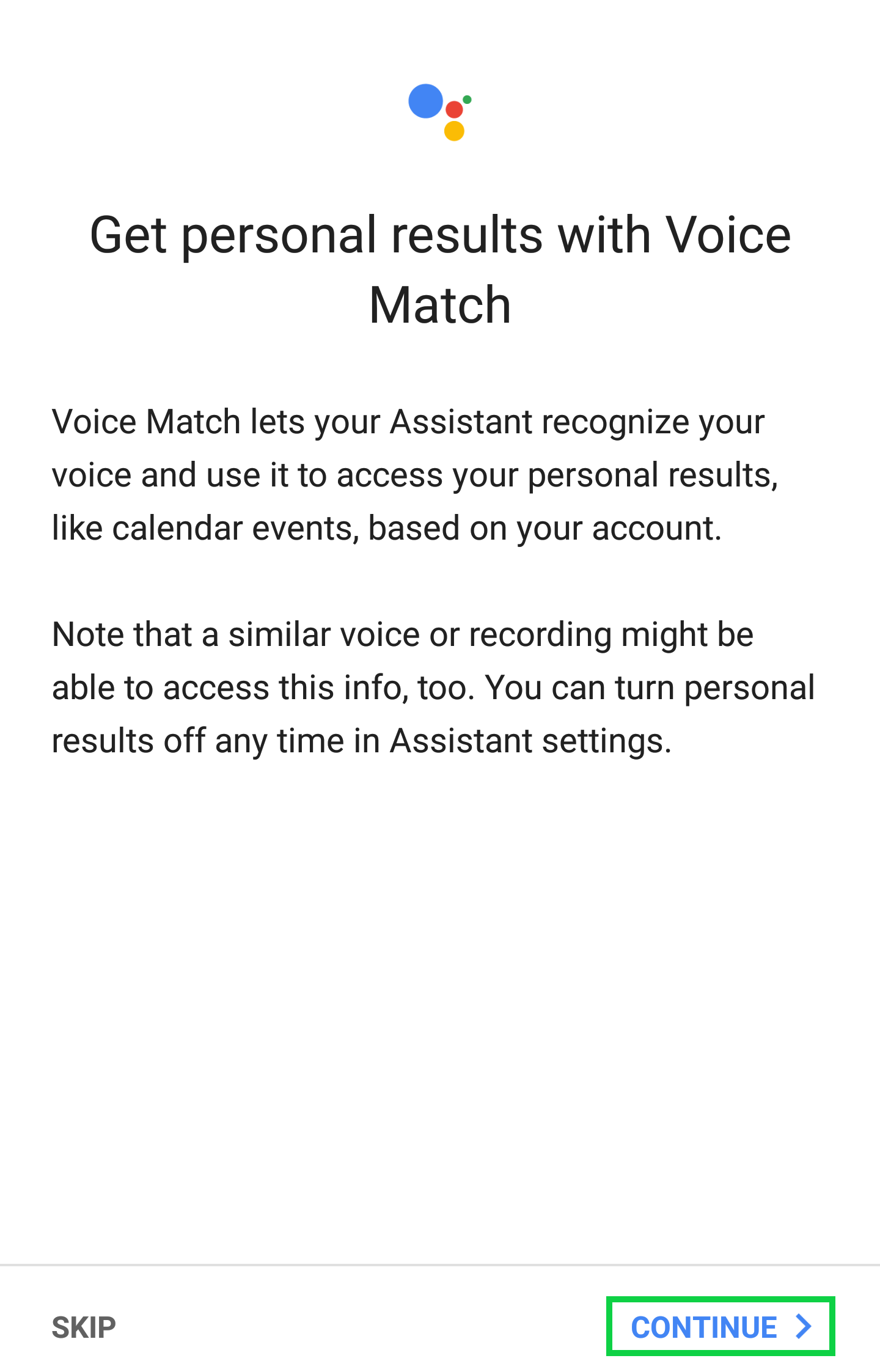 Get personal results with Voice Match page with Continue highlighted