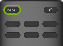 Input button highlighted on VIZIO TV remote.