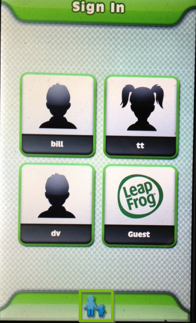 LeapPad sign in screen with Parent-Child icon selected below.