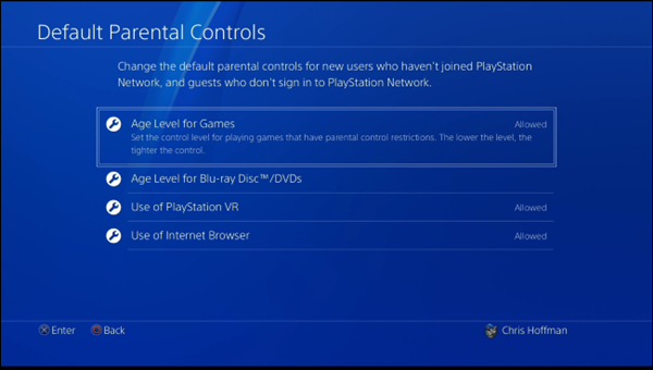 The default parental controls