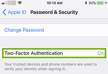 Turning two factor authentication on