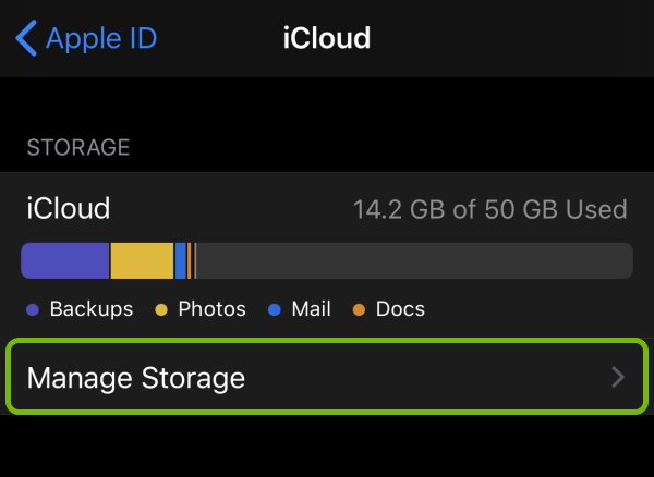 Manage Storage option highlighted in iCloud settings on iOS.
