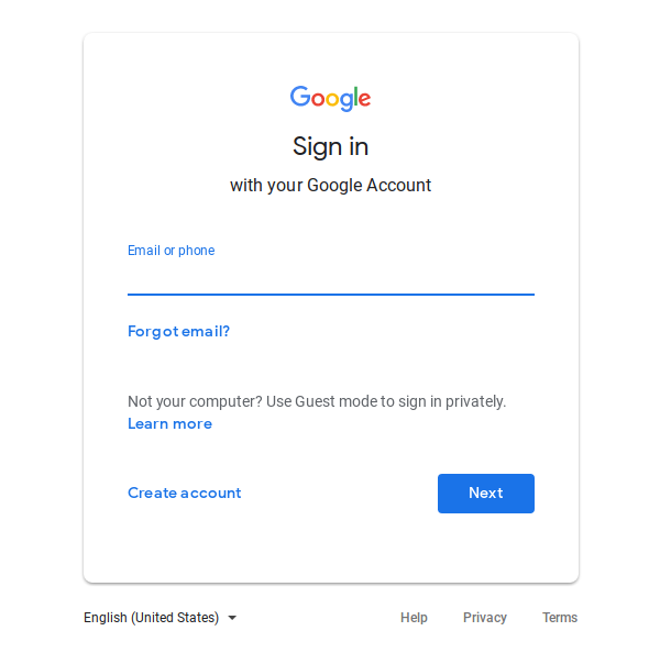 Google Account sign in.