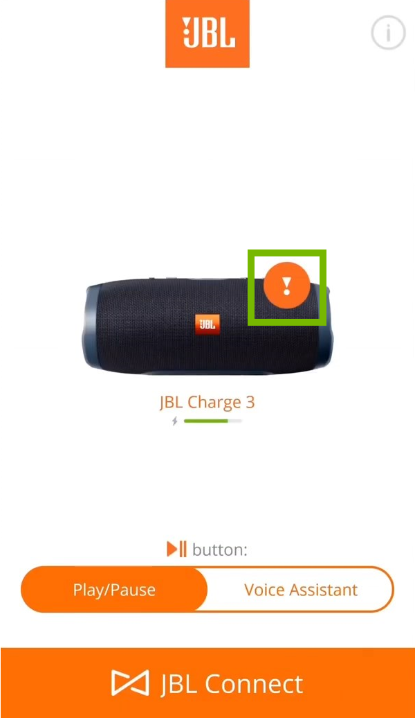JBL Connect with speaker and update notification is highlighted
