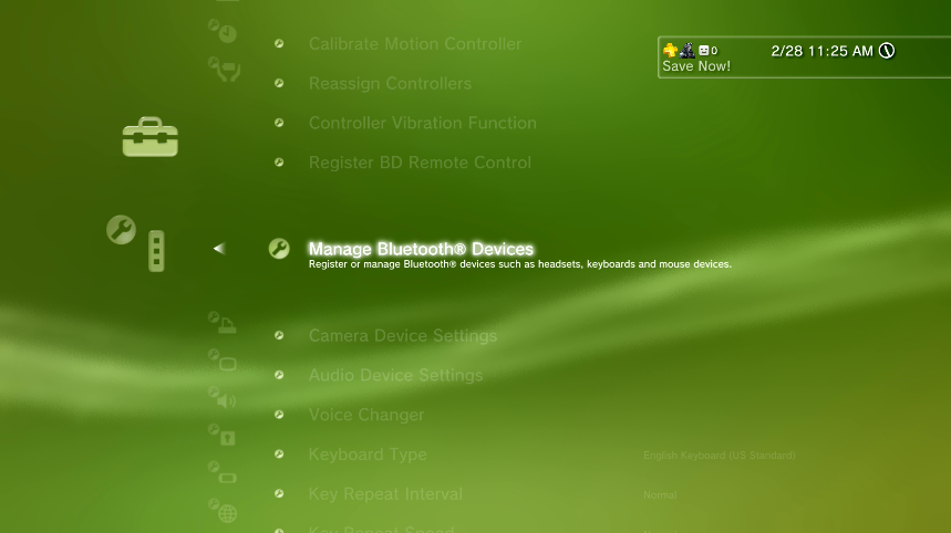 Accessory Settings with Manage Bluetooth Devices selected. Screenshot.