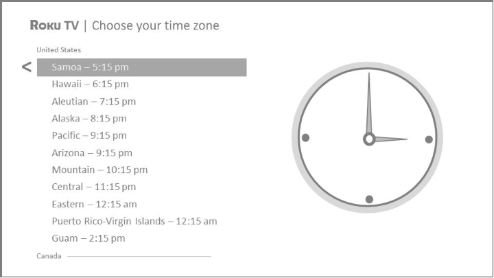 Time zone selection screen in Guided Setup