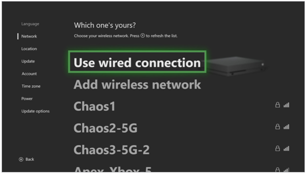 Wired or wireless selection screen