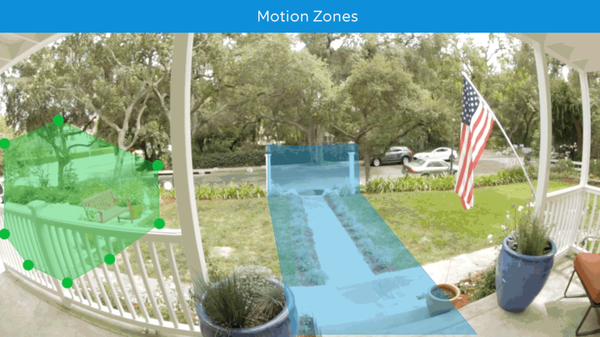 Setting motion zones in mobile app.