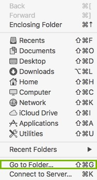 Go To Folder highlighted
